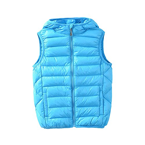 M2C Boys Front Zip Packable Hooded Down Puffer Vest,7/8 Sky Blue