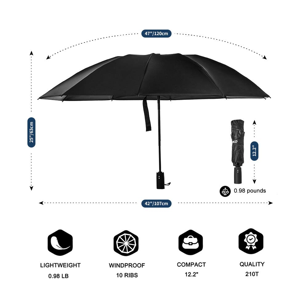 Reinforced Windproof Canopy Frame Malaxlx Compact Lightweight Fast Drying Folding Travel Umbrella Slip-Proof Handle for Easy Carry Auto Open//Close Lifetime Replacement Guarantee Black