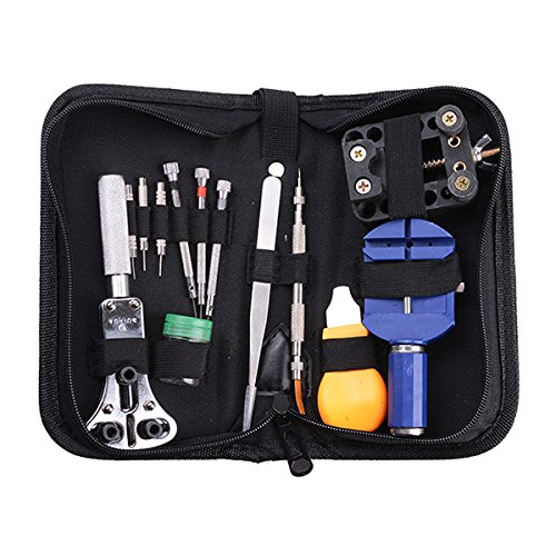 AGPtek® 13 Pcs Watch Repair Tool Kit with Zip Case Battery Bracelet Pin Punch Link Remover and More