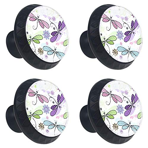 LORVIES Dragonflies Painting Drawer Knob Pull Handle Crystal Glass Circle Shape Cabinet Drawer Pulls Cupboard Knobs with Screws for Home Office Cabinet Cupboard (4 Pieces)