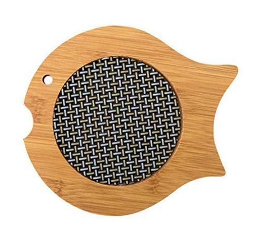 Bazzano 竹製ノンスリップテーブルマット 断熱パッド ボウルカップマット プレースマット (形状 - 魚) 3点セット   B07P4C5KZV