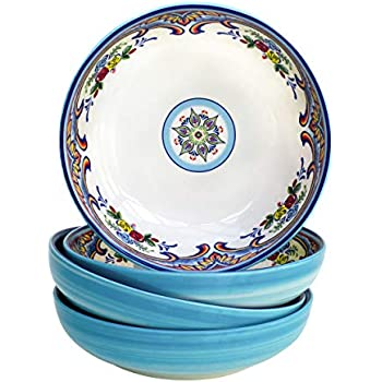 Euro Ceramica YS-ZB-1001-5 Earthenware Pasta Set Dining Bowls, Service for 4, Spanish Floral Design, Multicolor Blue