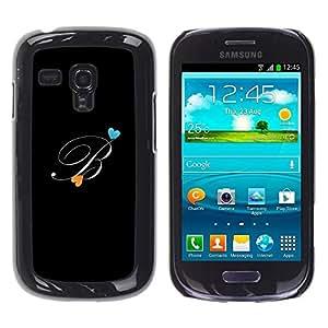 FECELL CITY // Duro Aluminio Pegatina PC Caso decorativo Funda Carcasa de Protección para Samsung Galaxy S3 MINI NOT REGULAR! I8190 I8190N // Black Initials Letter Calligraphy Text