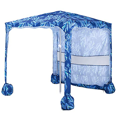🥇 AMMSUN 5.5′ × 5.5′ Portable Beach Umbrella Canopy Cabana with Sand Pockets – Easy Set up and Take Down Large Shade Area Outdoor Canopies