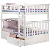 Atlantic Furniture Columbia Bunk Bed with 2 Raised Panel Bed Drawers, Full Over Full, White