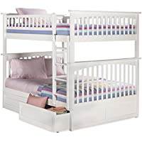 Columbia Bunk Bed with 2 Raised Panel Bed Drawers, Full Over Full, White
