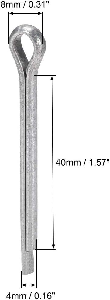 sourcing map 50 St/ück Geteilter Splint Stift 4 mm x 40 mm 2 Zinken Silberton aus Kohlenstoffstahl 5//32 Zoll x 1 37//64 Zoll