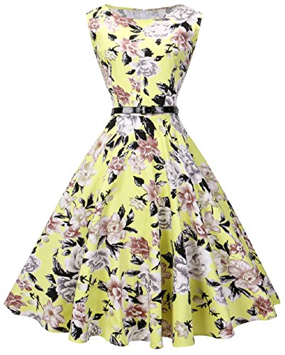 VOGVOG Women Boatneck Sleeveless Vintage Tea Cocktail Dress with Belt size S-4XL