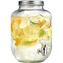 Palais Glassware Clear Mason Jar Beverage Dispenser - Traditional Tin Screw Off Lid (1 Gallon)