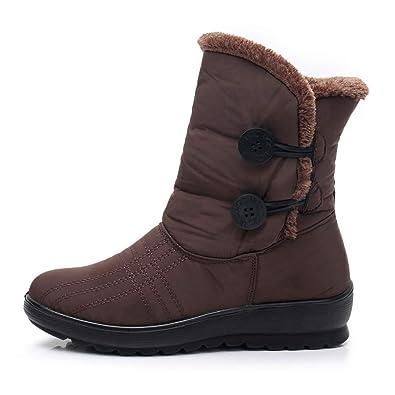Darringls Zapatos de Invierno Mujer,Botas de Nieve Más Terciopelo Botines Grueso botón Zapatos de cuña Botas Medias: Amazon.es: Zapatos y complementos