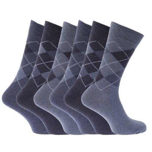 Mens Pattern Cotton Blend Argyle Socks (Pack Of 6) (US Shoe 6.5-11.5) (Blue) (Pattern Argyle Top)