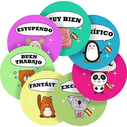 Charming Pets Spanish Lessons Reward Sticker Labels, 70 Stickers @ 1 inch, Glossy Photo Quality, Ideal for Children Parents Teachers Schools Doctors Nurses Opticians