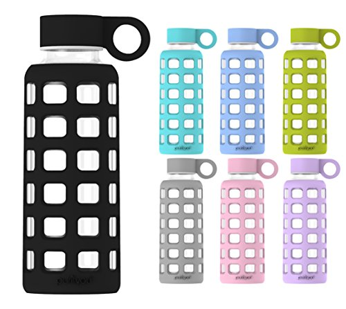 purifyou Premium Glass Water Bottle with Silicone Sleeve & Stainless Steel Lid Insert, 12 / 22 / 32 oz (Jet Black, 12 oz)
