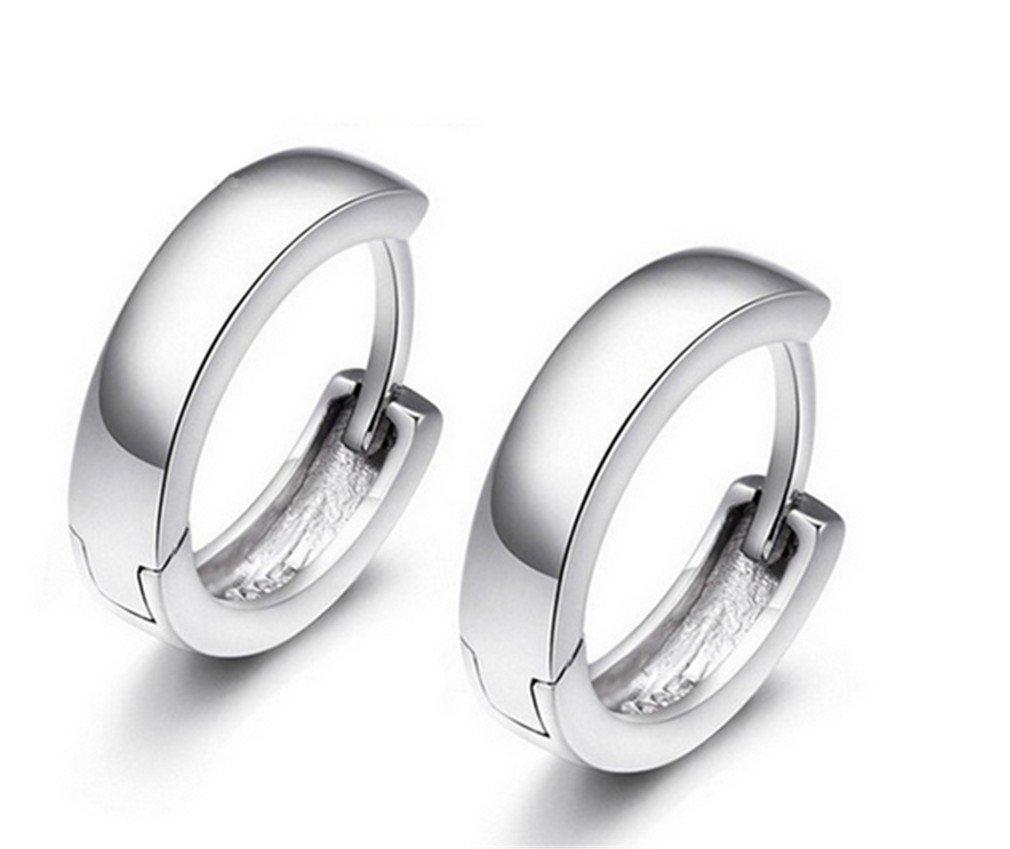Runsmooth Unisex Small Hoop Earrings Stud Earrings Polished Earring 925 Sterling Silver Fashion Jewelry