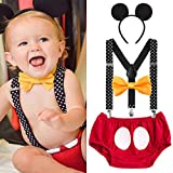 IBTOM CASTLE Baby Boys First Birthday 1st/2nd/3rd Costume Cake Smash Outfits Y Back Suspenders Bloomers Bowtie Set Mouse Ear