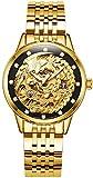 PASOY Womens Automatic Watches Diamond Dila Stainless Steel Waterproof Gold Phoenix Skeleton Watch 33MM