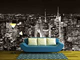 wall26 - New York City Midtown Skyline Panorama with Skyscrapers and Urban Cityscape at Night. - Removable Wall Mural | Self-adhesive Large Wallpaper - 100x144 inches