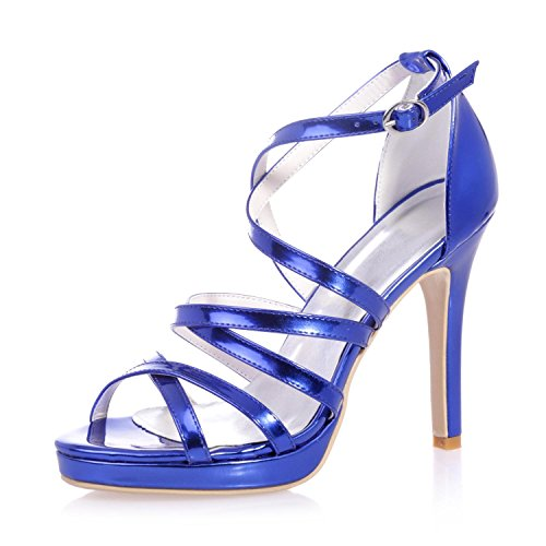 Party amp; L Leather Blue Women's Dress PU Evening Leathers 31 Peek Club High Heels toe 5915 Party Shoes YC amp; rH7rWFwqSP