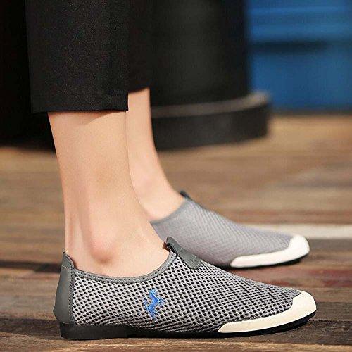 Bomba Ponerse Mocasín Hilado de red Malla Sandalias Casual Zapatos Hombres Cómodo Hueco Antideslizante Pedal Zapatos Zapatilla Zapatillas de deporte Conducción Zapatos Zapatos perezosos Tamaño de la U Grey