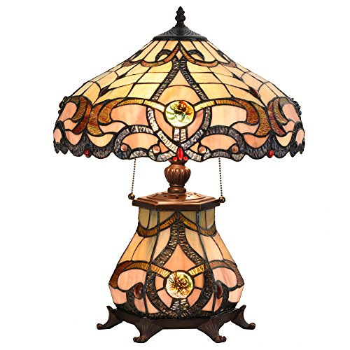 Cloud Mountain Tiffany Style Table Lamp Victorian Jeweled Desk Lamp Floral Stained Glass Home Decor Lighting Amber Victorian Table Lamp