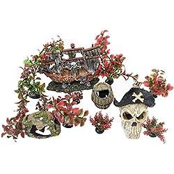 ByTheBay Aquarium Pirate Decoration Ornaments for Fish Tanks (Pirate Ship)