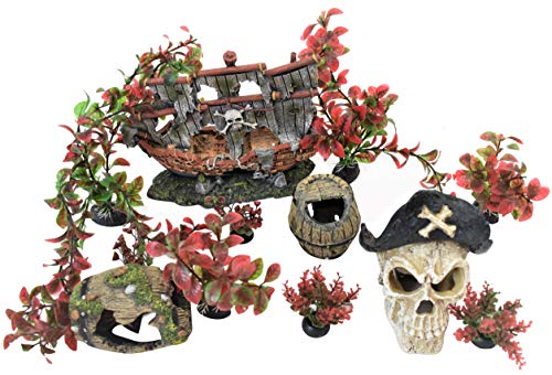 ByTheBay Aquarium Pirate Decoration Ornaments for Fish Tanks (Pirate Ship) ()