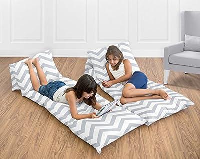 Sweet Jojo Designs Gray and White Chevron Zig Zag Kids Teen Floor Pillow Case Lounger Cushion Cover