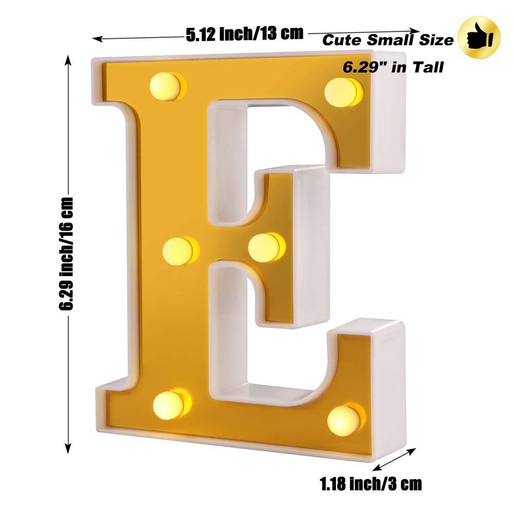 Samapete Lettre de LED Lights 26 Golden Alphabet Marquee Lights Signer pour la f/ête danniversaire de mariage No/ël Home Bar D/écoration W