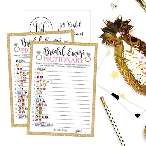 25 Emoji Pictionary Bridal Shower Games Ideas, Wedding Shower, Bachelorette or Engagement Party For Men and Women Couples, Cute Funny Board Kit Bundle Set, Coed Adult Game Cards For Bride to be Party