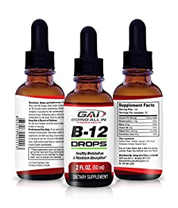 GAI Vitamin B-12 Complex Liquid Drops – Instant Absorption Rapidly Boost Energy Levels, Vegan, Support Brain, Nerve & Blood Cell Function, Boosts Cardiovascular & Bone Health – 2 ounces