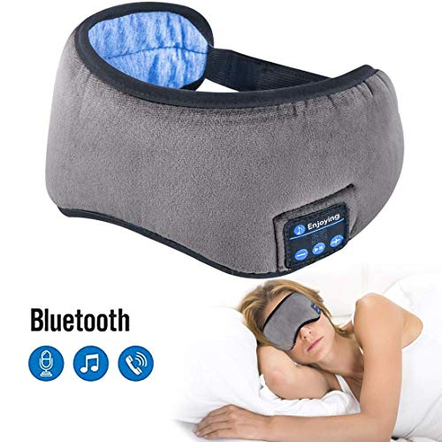 Sleep Headphones Bluetooth 5.0 Wireless Eye Mask - Homder Headphones Travel Sleeping Headband Built-in Speakers Microphone Handsfree Adjustable Washable