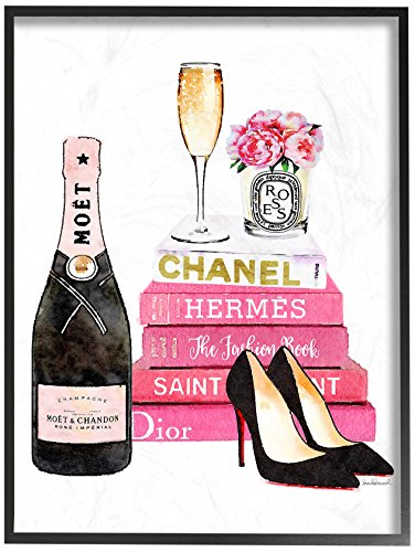 Stupell Industries Glam Pink Fashion Book Champagne Hells and Flowers Oversized Framed Giclee Texturized Art, Proudly Made in USA ()