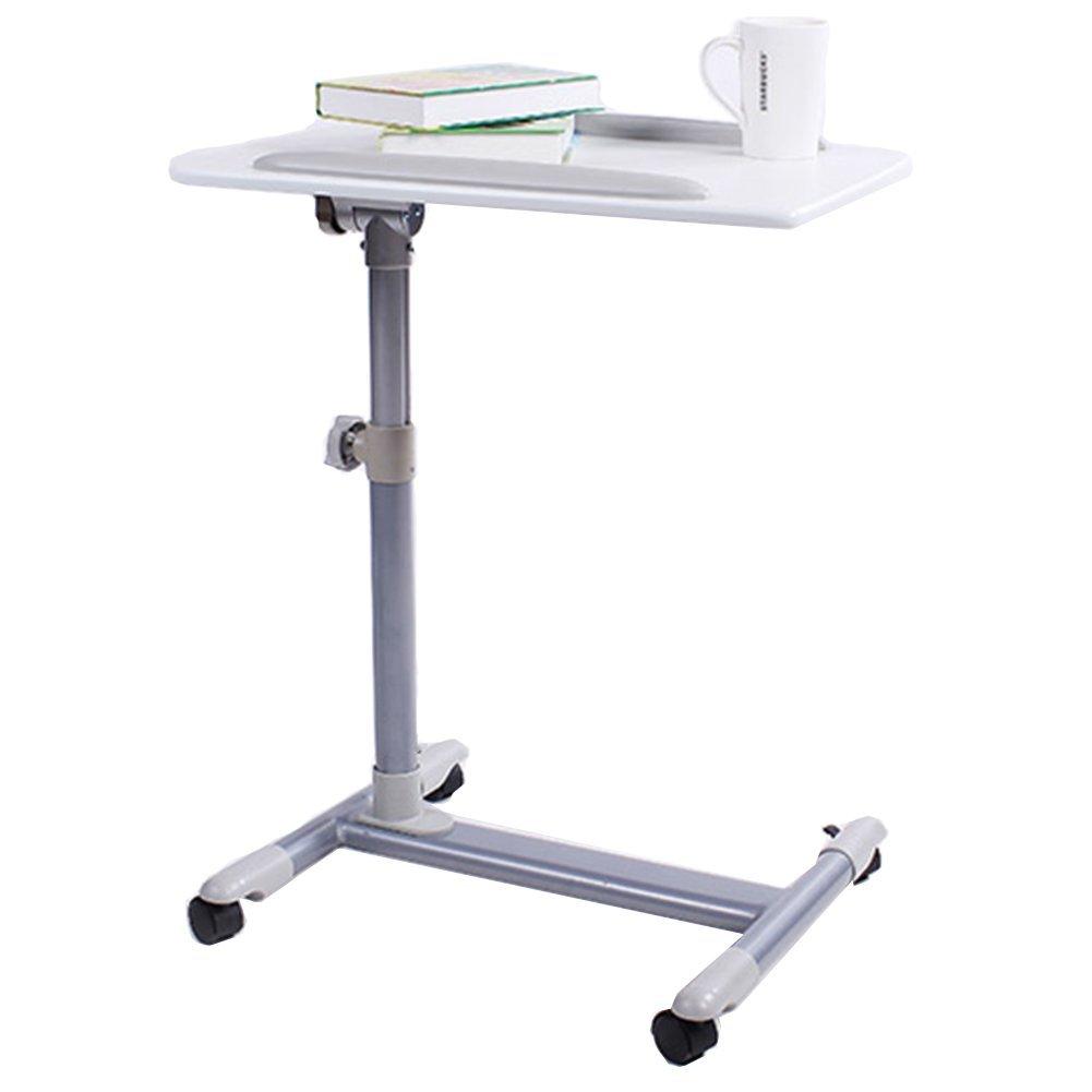 TH ベッドとソファのためのコンピュータデスクの高さ調節可能なラップトップテーブルポータブルラップデスク (色 : 白)  白 B07G23325D
