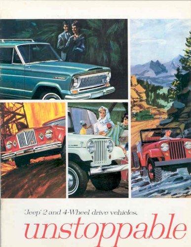 1965 JEEP FULL-LINE COLOR SALES BROCHURE: WAGONEER, GLADIATOR, PANEL DELIVERY, UNIVERSAL & TUXEDO PARK MARK IV - 65-09 - USA - NICE !!