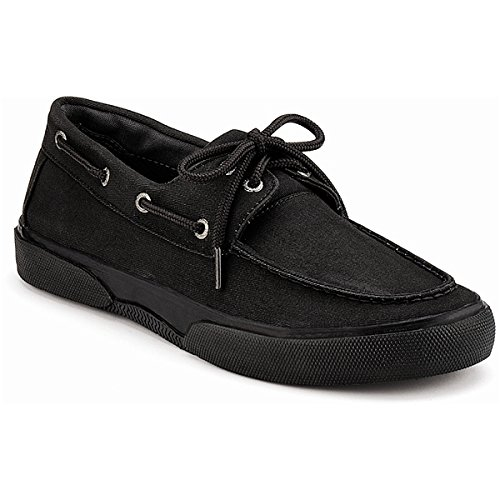 Sperry Top-Sider Mens Halyard 2-Eye Black-Black Casual Shoes M