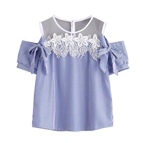 FORUU Women Short Sleeve Off Shoulder Lace Striped Blouse Casual Tops T-Shirt
