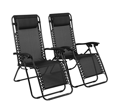 Naomi Home Zero Gravity Lounge Patio Outdoor Recliner Chairs Black Set of 2