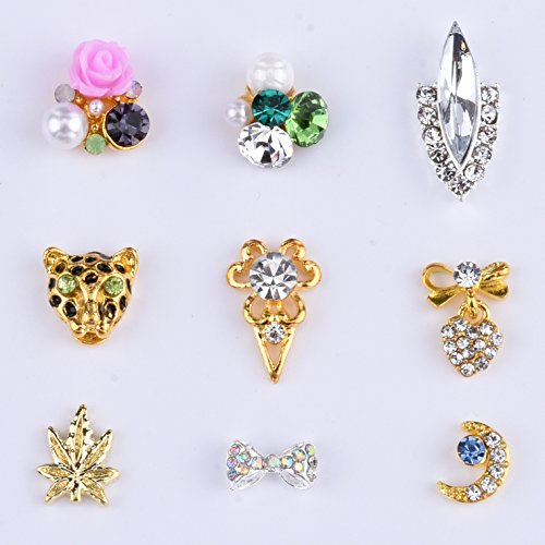 MIX New Design gold leaf charm Leopard Moon Rose flower For Nails Decoration Crystal Bow knot Heart pendant Nail Accessory Supplies -