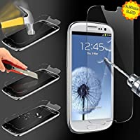 Samsung S3 Glass Screen Protector NewPlus® (TEMPERED GLASS) Highest Quality Premium Anti-Scratch, Bubble-free, Reduce Fingerprint Screen Protector, Easy Install Product [1-Pack, Slim 0.26mm, 9H Hardness] for - (Samsung S3 (0.26mm) glass)