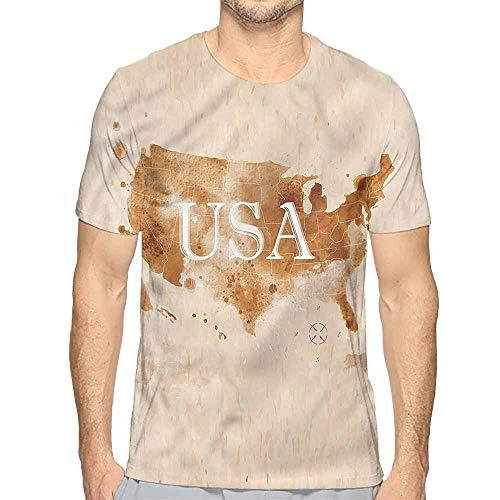 Jinguizi t Shirt Americana,Retro America Map Country Printed t Shirt XXL