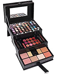 Maùve Professional Leather Train Case with Mirror Makeup Kit (Eyeshadow, Blushes, Powder, Lipstick & More) Holiday Exclusive MU12 (BLACK)