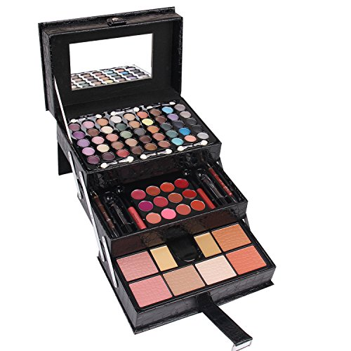 Ma ve Professional Leather Train Case with Mirror Makeup Kit Eyeshadow, Blushes, Powder, Lipstick More Holiday Exclusive MU12 BLACK