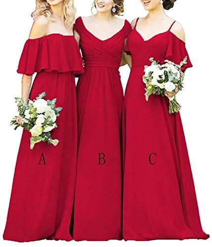 Les Robes De Demoiselle D'honneur Longue Des Femmes Cdress En Mousseline De Soie Volants Robes De Soirée Bal Hors Épaule Robe Formelle Rouge Un