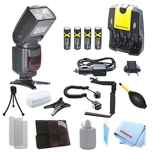 Nikon DF260N Dedicated Essential Slr Ttl Flash + 4 Rechargeable AA Batteries + Home / Car Charger + 180 Degree Quick Flip rotating Flash Bracket + Heavy Duty Off-Camera Flash Cord For Nikon D3000, D3100, D3200, D3300, D90, D7100, D600, D610, D700 with a Complete Starter Kit