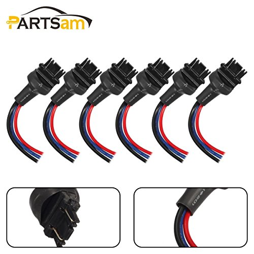 Partsam 3156 3157 Male Wired Wiring Harness Sockets Adapter for Turn Signal Light DRL Bulbs Brake Tail Lights-6Pcs