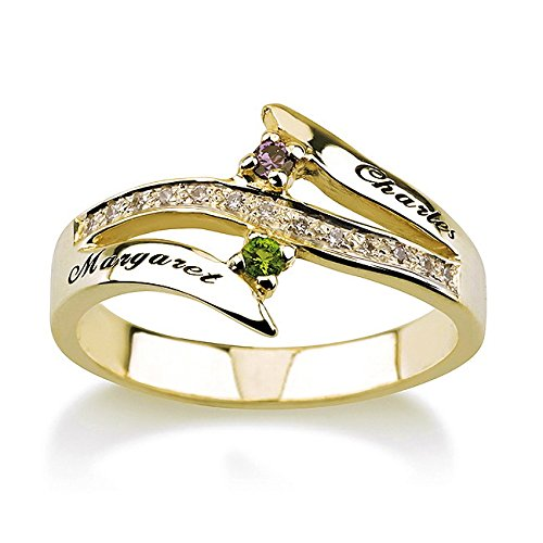 14 K Gold Engraved Promise Ring Birthstone Ring Couples Ring Split Band Ring (5) by Personalized Necklaces