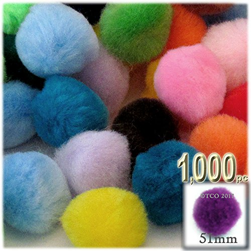 The Crafts Outlet 1,000-Piece Multi purpose Pom Poms, Acrylic, 51mm/about 2.0-inch, round, Multi Mix by The Crafts Outlet