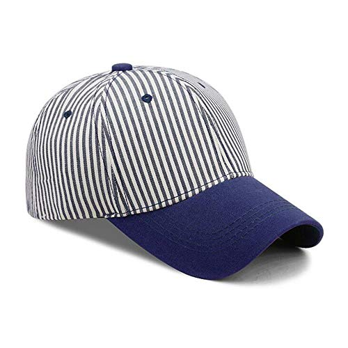 - ☀️☀️Men's and Women's Striped Baseball Caps Sunscreen Visor Summer Sun Hat for Traveling (Blue)