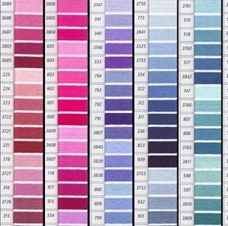 Color Chart Embroidery - DMC Floss Color Colour Card with Real Thread Samples!