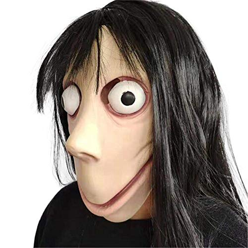 Bobody Halloween Costume Party Mask, Scary moMo Mask Tern Death Game with Long Hair -